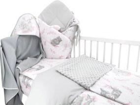Baby Nellys set din 6 piese cu un cadou, 120 x 90, LULU, roz, gri 135x100