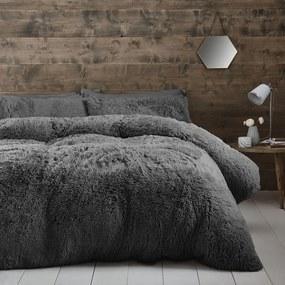 Lenjerie de pat din micropluș Catherine Lansfield Cuddly, 135 x 200 cm, gri închis