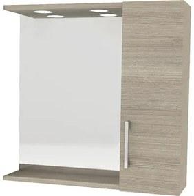 Dulap cu oglinda si iluminare LED, 58x57 cm, finisaj rovere fumo, IP 44
