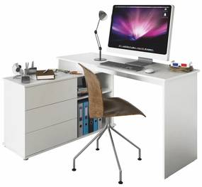 Birou PC universal de colţ, alb, TERINO