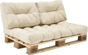 [en.casa]® Set perne interior - canapea paleti - 1x perna sezut + 2x perne spate - bej