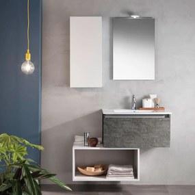 Set de baie cu 6 piese PERTH , Melamina Aluminiu Abs Sticla Ceramica Metal, Gri,  106x46.5x190 cm