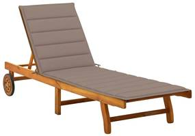 3061352 vidaXL Șezlong de grădină cu pernă, lemn masiv de acacia