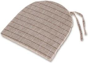 Pernă semirotundă pentru scaune Indie maro cu grila 37 x 37 cm
