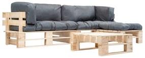 277492 vidaXL Set mobilier de grădină paleți cu perne gri, 4 piese, lemn