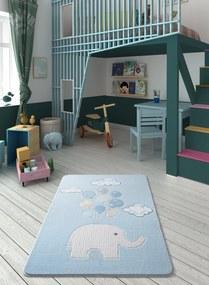 Covor pentru copii Sweet Elephant Albastru Deschis - 133 x 190 cm
