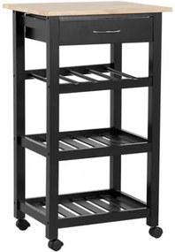 Cărucior de servire Foggia, negru, 86 x 50 x 40cm