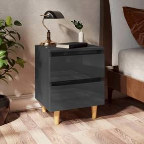 805867 vidaXL Noptieră & picioare lemn masiv pin gri extralucios 40x35x50 cm