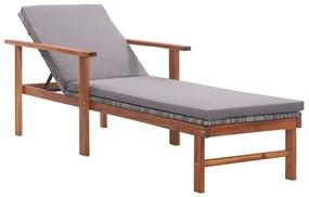 48705 vidaXL Șezlong cu pernă, gri, poliratan și lemn masiv de acacia
