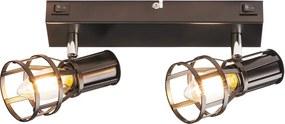 Rábalux 5959 Aplice perete cu intrerupator Aria negru mat metal E14 2x MAX 15W IP20