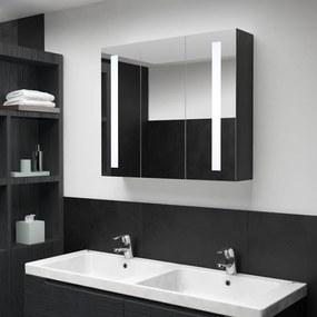325544 vidaXL Dulap de baie cu oglindă și LED, stejar, 89x14x62 cm