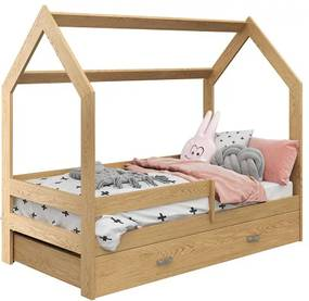 Pat pentru copii Casută D3 pin 80x160 cm lemn de pin Lamele: Cu lamele curbate, Saltele: Saltea EASYSOFT 8 cm, Cutie depozitare pat: Fără sertar