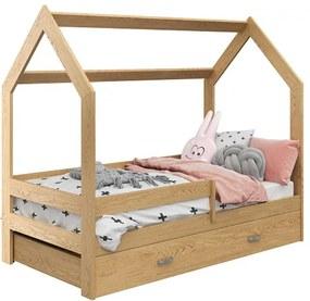 Pat pentru copii Casută D3 pin 80x160 cm lemn de pin Lamele: Fără lamele, Saltele: fără saltea, Cutie depozitare pat: Fără sertar