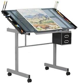 Masa pentru desen tehnic cu planseta din sticla