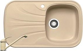 Chiuveta de bucatarie Pyramis Saria 1B 1D DR, 82 cm, compozit, beige + baterie bucatarie cadou