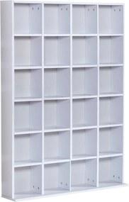 Homcom Mobilier Librerie in Lemn 24 Compartimente, Alb, 130.5x89x20cm