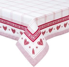 Fata de masa bumbac alb rosu Cuore 100 cm x100 cm
