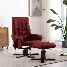 320128 vidaXL Fotoliu de masaj rabatabil cu taburet roșu vin piele ecologică