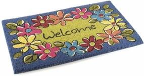 Covoras intrare casa antiderapant fibre cocos cauciuc Welcome Flowers 60 cm x 40 cm