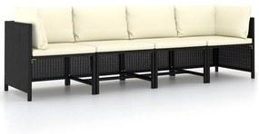 313515 vidaXL Canapea de grădină cu 4 locuri, cu perne, negru, poliratan
