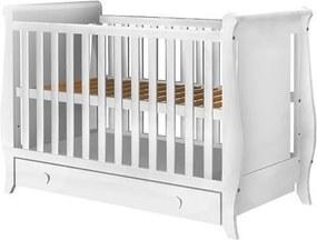 Patut din lemn pentru copii Mira alb cu sertar 120x60 cm