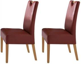 Set de 2 scaune Alessia piele sintetica/lemn masiv, rosu, 47 x 99 x 59 cm
