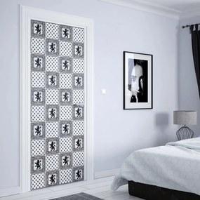 GLIX Tapet netesute pe usă - Vintage Tiles Pattern Black And White