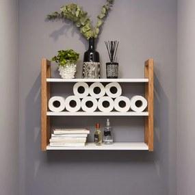 Etajera de perete cu 3 rafturi pentru baie 65x20x53 cm Alb/Stejar