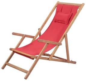 43995 vidaXL Scaun de plajă pliabil, roșu, textil și cadru din lemn