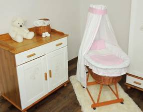 de răchită coș pentru copil cu roz set lenjerie Coș de răchită pentru bebeluș cu set de trandafiri roz