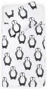 Lenjerie pat copii 140 x 200 cm Jollein Pinguini