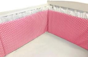 Aparatori laterale cu volanase si buline 120x60 h40 cm roz