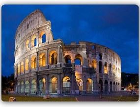 CARO Tablou metalic - Colosseum By Night 40x30 cm