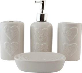 Set baie ceramica crem 4 piese Heart Ø 11x8 cm