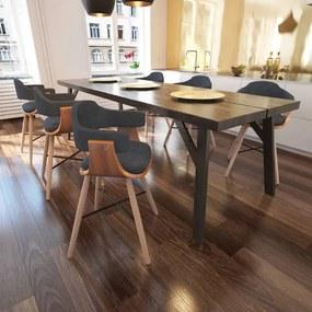 271947 vidaXL Scaune de bucătărie, 6 buc., gri închis, lemn curbat & țesătură