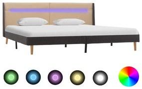 286701 vidaXL Cadru de pat cu LED, crem, 160 x 200 cm, material textil