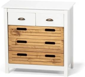 Comodă din lemn de pin și 5 sertare loomi.design Ibiza, alb