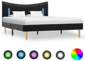 288538 vidaXL Cadru de pat cu LED, negru, 120 x 200 cm, piele ecologică