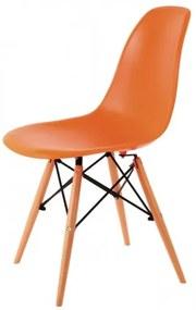 Scaun din plastic cu picioare din lemn Enzo Orange / Beech, l43xA42xH83 cm