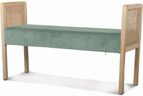 Bancheta SYDNEY Verde din Catifea si Lemn 109cm OPJET PARIS - Catifea Verde Lungime (110cm) x Latime (40cm) x Inaltime (65cm)