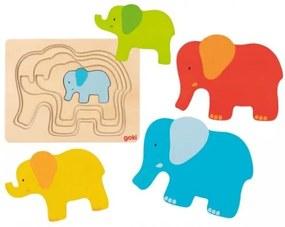 Puzzle stratificat din lemn elefantel Goki