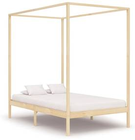 283253 vidaXL Cadru pat cu baldachin, 140 x 200 cm, lemn masiv de pin