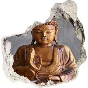 Fototapet 3D gaură în perete Buddha din lemn