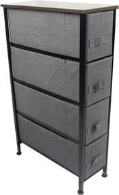 Comoda metalica cu 4 sertare, material textil, 20 x 48 x 75.5 cm,gri