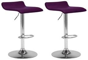 323334 vidaXL Scaune de bar, 2 buc., violet, piele ecologică