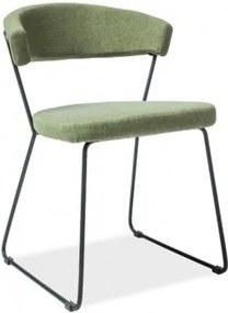 Scaun tapitat cu stofa si picioare metalice Helix Verde, l53xA46xH77 cm