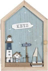 Cutie suspendabila pentru chei din lemn si sticla cu 6 agatatori 18 cm x 6 cm x 28 h