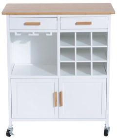 HomCom Mobiler de Bucătărie cu Roți, Suport de Pahare și Sticle din Bambus, 76x40x88cm