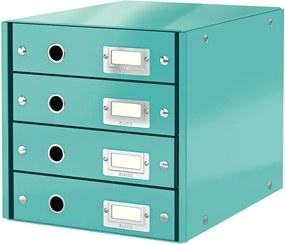 Cutie cu 4 compartimente Leitz Office, lungime 36 cm, albastru turcoaz