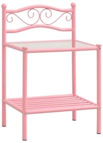 325083 vidaXL Noptieră, roz & transparent, 43x33x65 cm, metal și sticlă